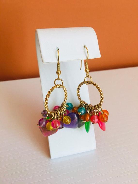 and Flower Rainbow Bead Earrings Heart Star