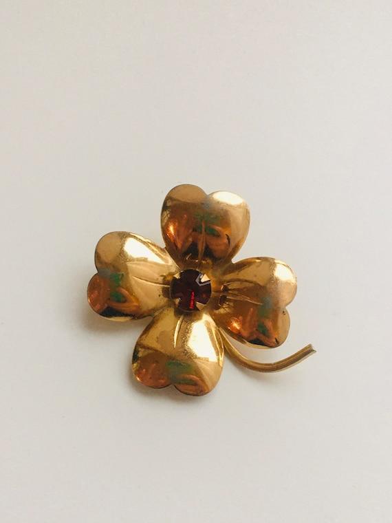 Vintage Gold Pearl Shamrock Pin Tested