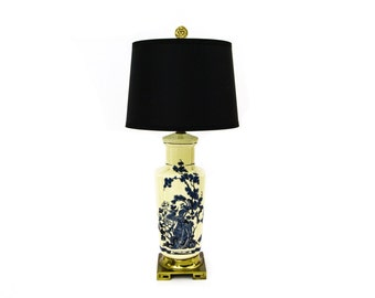 Blue Transferware, Chinoiserie Toile Lamp