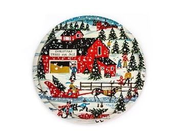 c1981 Christmas Folk Art Tin Tray by Barbara Downtain for Enesco