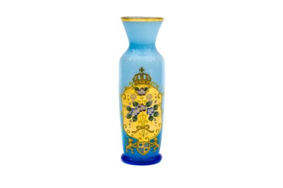 Blue Bohemian Czech Glass Vase Etsy