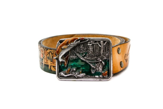 Bergamot Enameled Belt Buckle and Tooled Leather G