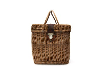 Large Wicker Picnic Basket | 1950s Two Handled Covered Wicker Basket