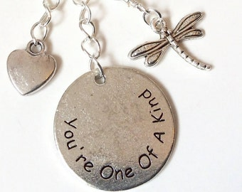 You're One Of A Kind... Heart and Dragonfly key or bag chain