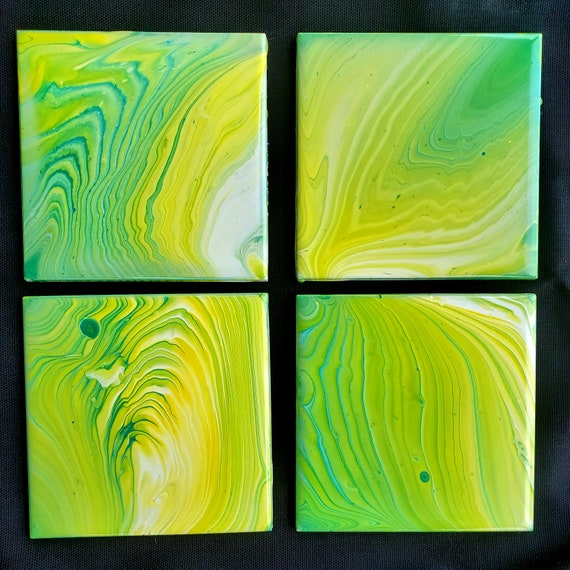 Set of 4 handpainted fluid art tile coasters, useable art, for living room, dining room, den, man cave decor, home decor, housewarming gift