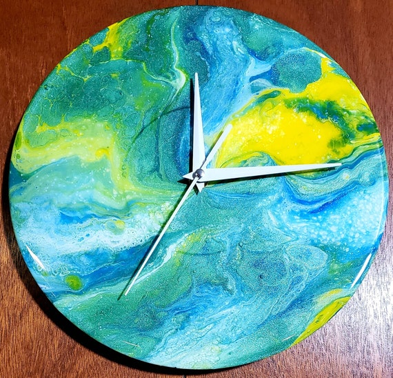 Handpainted wall clock, boho decor, spring decor, home decor, earth day decor, pour painting, modern decor, art clock, wall art