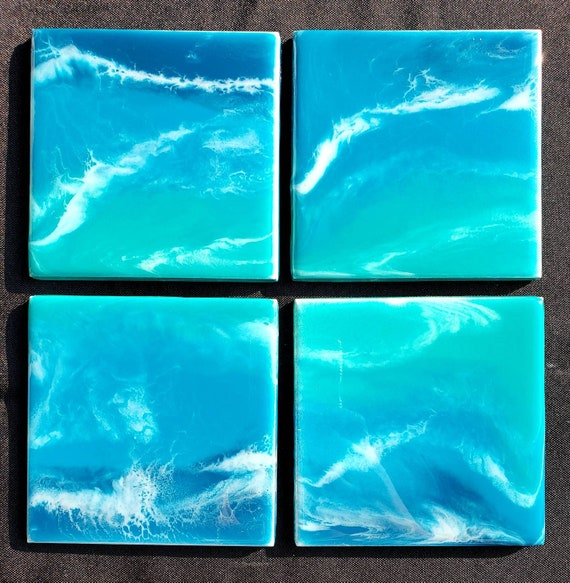 Set of 4 ocean waves resin fluid art tile coasters for living room, office, dining room, resin coated, for housewarming gift, for birthday