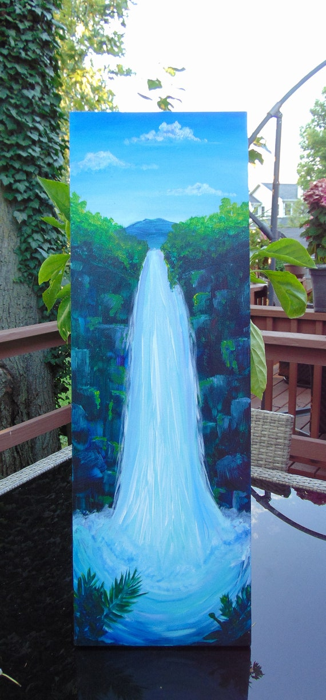 Original artwork, waterfall painting, wall art, home decor, Hawaii art, landscape painting, housewarming gift, couples gift, office decor