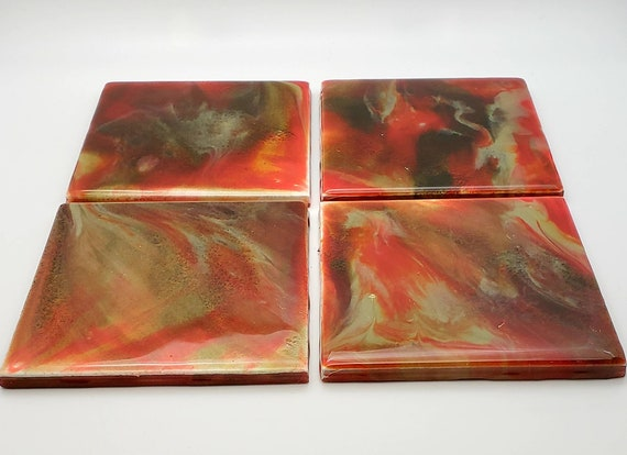 Handpainted coaster set, pour painting, bar gift, office decor, housewarming gift, home decor, Christmas gift, gift for him, red accent