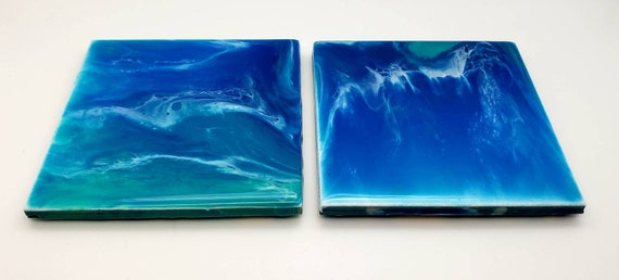 Ocean coaster set, beach decor, home decor, bar gifts, ocean decor, beach house decor, set of 2, cork back, vacation memories, office decor