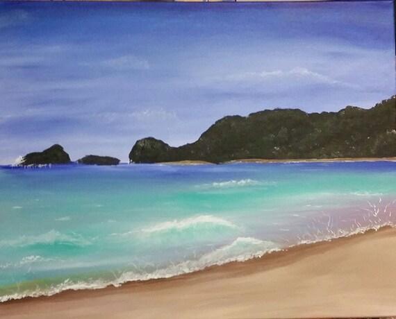 Original large art, Bellows Beach, Oahu Original Hawaiian Art signed, 16x20 Landscape, for living room, mantle decoration, meditation focus