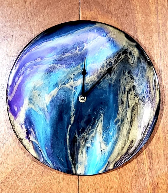 Handpainted wall clock, boho decor, pour painting, vinyl record art, modern decor, one of a kind gift, art clock, wall art