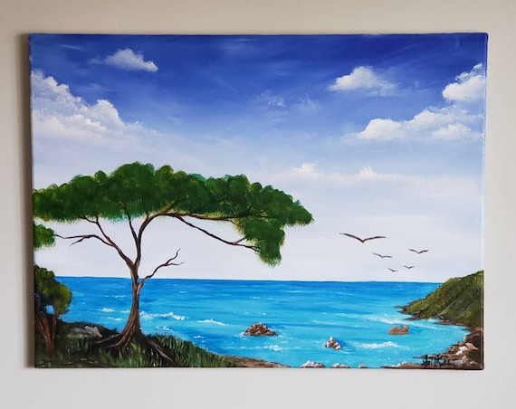 Original large art, office decor, statement art, ocean painting, landscape painting, hawaii decor, beach decor, ocean decor, home decor