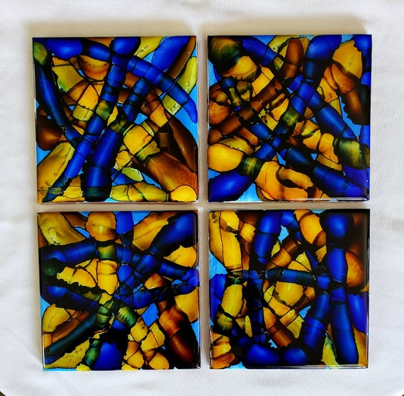 Set of 4 resin coated burnt alcohol ink fluid art ceramic coasters, stained glass look for living room, dining room