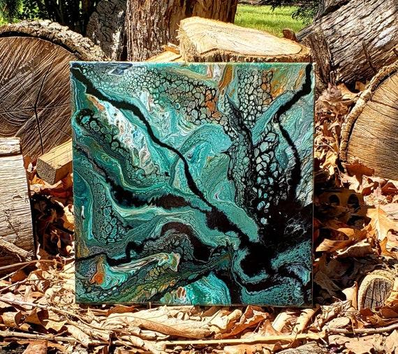 Original artwork, pour painting, boho decor, earth tones, jewel tones, office decor, flow art, green decor, wall art, modern decor, 14x14