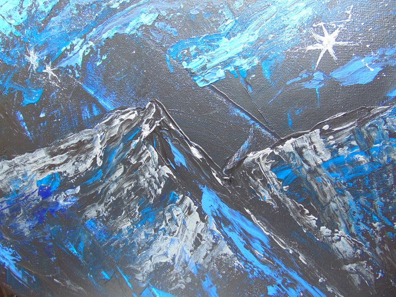 Original artwork fireplace mantle art man cave decor abstract landscape wall art northern lights office decor Alaska art nightscape
