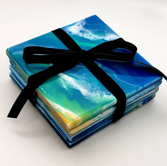 Handpainted coaster set, office decor, pour painting, flow art, ocean decor, home decor, hot or cold drinks, decorative tiles, home decor