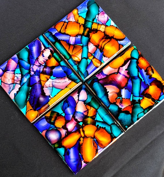 Set of 4 resin coated burnt alcohol ink fluid art ceramic coasters, stained glass look for loving room, bedroom, for art lovers