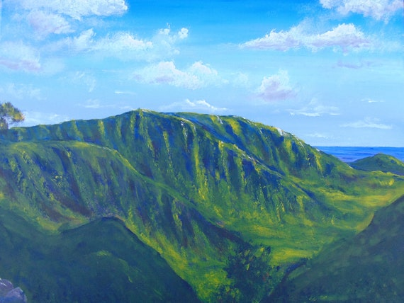 Original large artwork, office decor, statement piece, Hawaii art, landscape painting, mantle art, wall art, home decor, anniversary gift