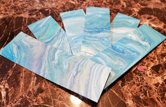 Flow art bookmarks in ocean blues, for book lovers, for readers, teacher gift, small gift, stocking stuffers