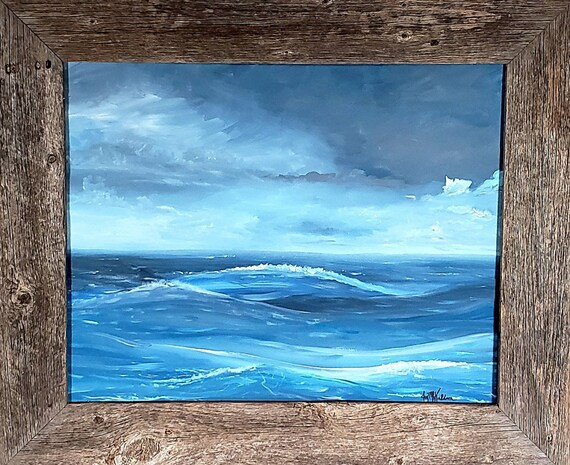 La Vague 16x20 inch original acrylic on canvas, nautical decor, ocean art, seascape, stormy sea painting, home decor, wall art