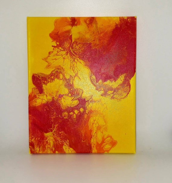 8x10 inch pour painting, boho decor, office decor, yellow decor, wall art, abstract, fluid acrylics painting, flow art