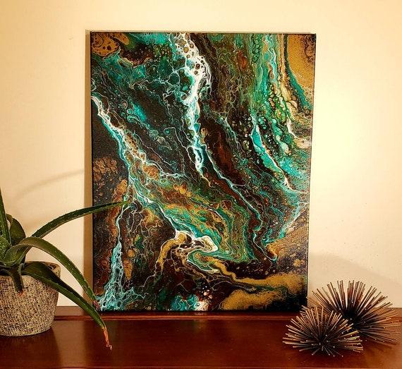 Original artwork, pour painting, boho art, office decor, jewel tones, earrh tones, boho decor, flow art, abstract painting, 16x20 inch