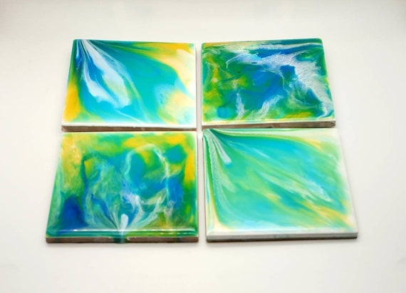 Handpainted coaster set, pour painting, flow art, bar gift, home decor, couples gift, one of a kind gift, office decor, modern home decor
