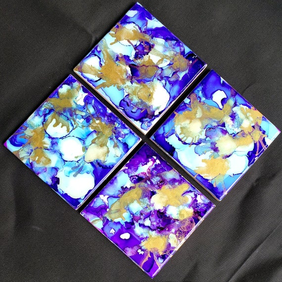 Set of 4 resin coated alcohol ink fluid art coasters for living room, dining room, den, housewarming gift, small gift