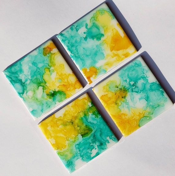Set of 4 resin coated alcohol ink fluid art ceramic coasters for living room, office, dining room, resin coated, for housewarming gift