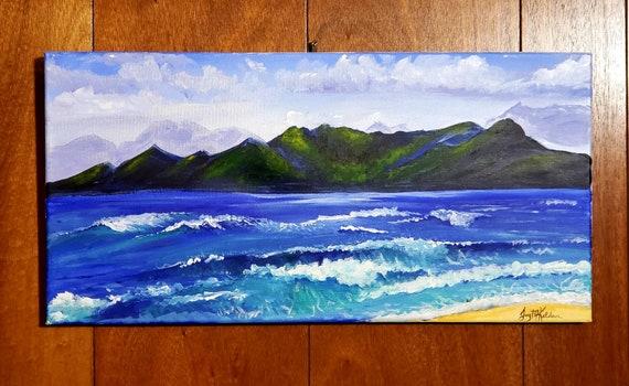 Original artwork, beach decor, office decor, HiLife art, ocean painting, original painting, landscape painting, Hawaii art, wall art