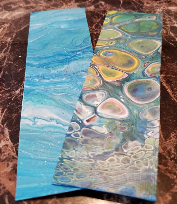 Set of 2 flow art bookmarks for book lovers, teacher gift, small gift