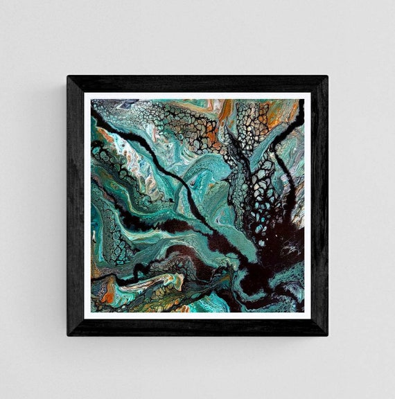 Original artwork, pour painting, boho decor, earth tones, jewel tones, office decor, flow art, green decor, wall art, modern decor, 14x14