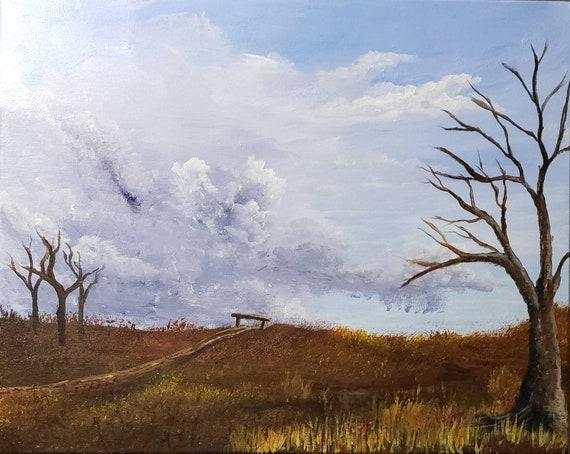 Autumn landscape, Colorado scenery, country roads painting, 16x20 inch, original artwork, landscape painting