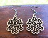 Gold Wood dangle earrings, Fractal earrings, Math jewelry, Science jewelry not Snowflake earrings, but Flowsnake earrings, Bohemian earrings