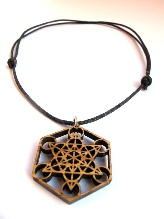 Necklace for man Laser Cut pendant Wooden pendant Metathron/'s Cube necklace with Aventurine stone Sacred Geometry Jewelry