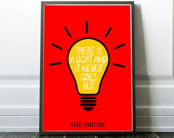 The Smiths - There is a Light Poster Print Song Lyrics Quote Black u0026 White Typography Modern Home Decor Minimal Gift Music Wall Art  sc 1 st  Etsy & The smiths wall art | Etsy