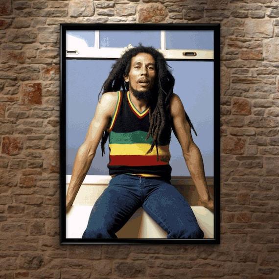 Present Bob Marley Art Rasta Reggae Music Singer Poster Print Frame Art Gift