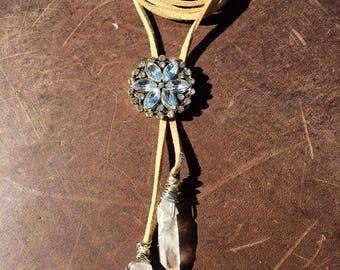 Bolo leather wrap necklace