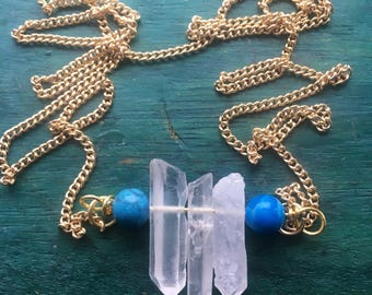 Long chain crystal necklace