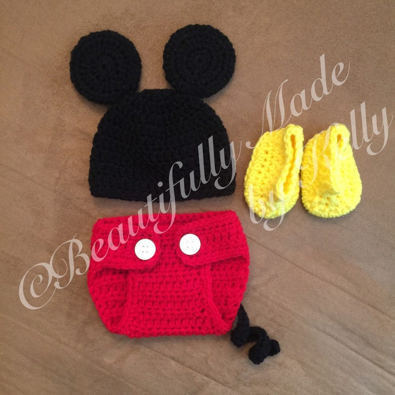 e882c9d669c Mickey Mouse inspired Newborn Diaper Cover Set