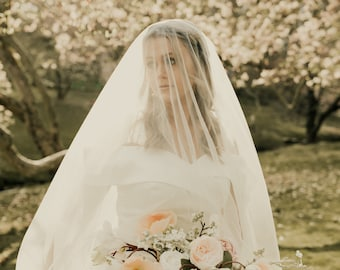 Romantic Drop Veil Ivory 10 Foot 120 Inches Bridal Veil with 30 inch Blusher Romantic Soft Tulle Cathedral Length Edith Crawley