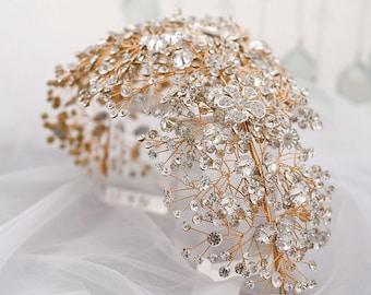 Luxury Jumbo Rhinestone Wedding Headband Bling  Glam Hairpiece Luxury Wedding Bold Huge Hair Accessory For Wedding Floral Crystal Design