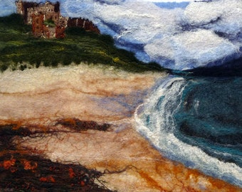 Original Felt Art, Bamburgh Castle - Beach View, Northumberland, wool painting, fibre art, Felt painting, Handmade, Felt Landscape