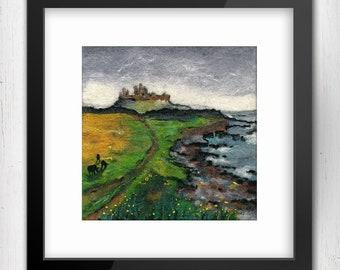 "Art Print, Shrouded in Mist, Dunstanburgh Castle walk, near Craster Northumberland, 10x10"", Limited Edition Art Print, Fine Art Giclee Print"