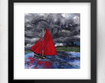 "Art Print, Red Sails, 10""x10"", Galway Hookers, Cruinniú na mBád Festival, Kinvara, Limited Edition Art Giclee Print, square art print"