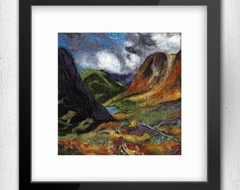 "Art Print, Road to Glencoe, 10""x10"", Scotland, Limited Edition Art Giclee Print, Fibre Art, felt art, Scottish landscape, wool painting"