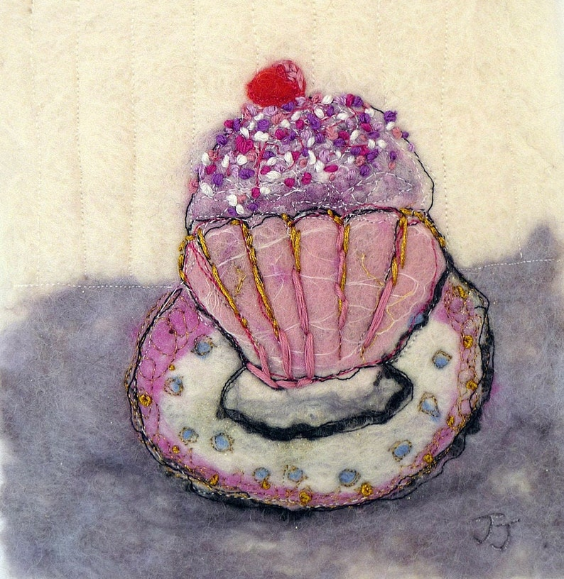 Time for cake original wool painting by fibre artist Janine image 0
