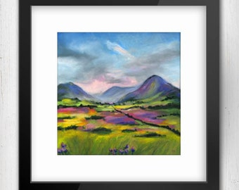 Art Print, After The Rain Connemara, Ireland, limited edition art prints, oil pastel artwork, wall art, moody art,