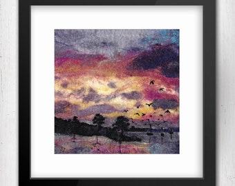"Art Print, Harbour Sunset Flight, 10""x10"", Kinvara, Ireland, Limited Edition Art Giclee Print, square art print, birds in flight, sunset"